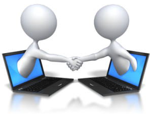 two figures shaking hands on a deal via Internet