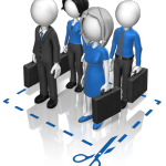 men and women business people holding brief cases
