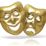 gold theatrical masks comedy tragedy
