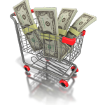 drawing of a shopping cart full of money