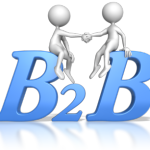 "2 stick figures shaking hands while sitting on the big blue letters ""B2B """