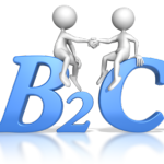"""2 stick figures shaking hands while sitting on large blue letters """"B2C"""" Business to Customer, Speeches"""