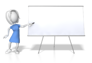 woman conducting training classes at whiteboard