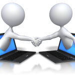 laptops and 2 figures shaking hands as they begin online training classes