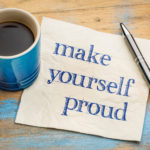 Coffee cup and note saying Make Yourself Proud
