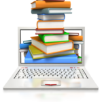 books and a computer for researching training content