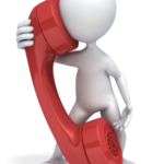 figure talking on giant red phone
