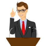 orator standing behind a podium with microphones. Speaker makes a report to the public. Presentation and performance before an audience. Oratory, lecturer, business seminar