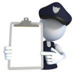 police officer pointing to clipboard re your training outline