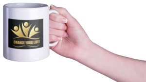 woman's hand holding coffee cup with logo Change Your Life! for presentations