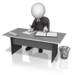 business figure working on training presentation at a desk with wastebasket full