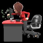business woman punching computer screen