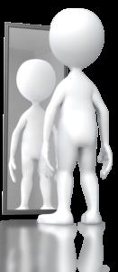 full-length figure looking at self in mirror