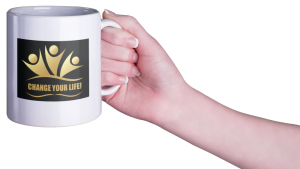 woman's hand with coffee cup and logo Change Your Life