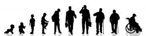 Vector silhouette of man as generation progresses.