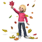 girl in pink sweater and jeans playing with Fall leaves