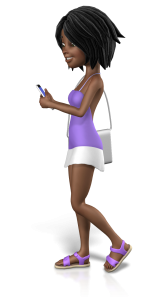 young girl walking and texting on phone