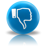 blue icon with hand in thumbs down position