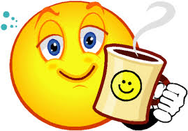 sleepy smiley face w coffee
