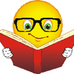 smiley face w glasses reading a book no voice