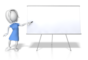 woman at white board making presentations